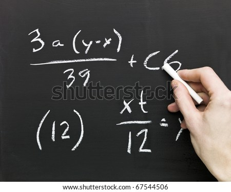 Close up of Mathematics on a blackboard - stock photo