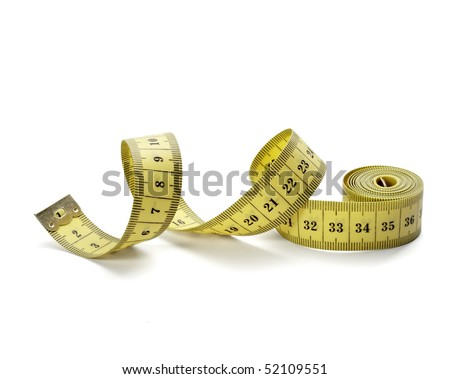 close up of measure tape on white background with clipping path - stock photo