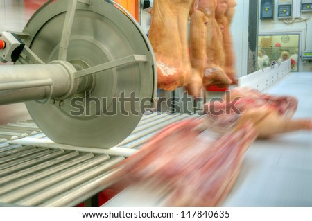 close up of meat processing in food industry - stock photo
