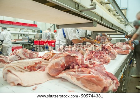 close up of meat processing in food industry