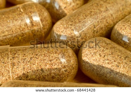 close up of medical capsules - stock photo