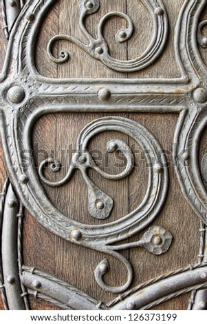 close up of medieval door - stock photo