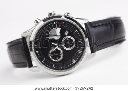 Close-up of men's watch isolated - stock photo