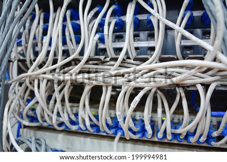 close-up of  mess pattern  ethernet cables connected to computer  internet server