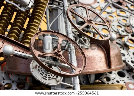 Close-up of metal carved details and gear-wheels - stock photo