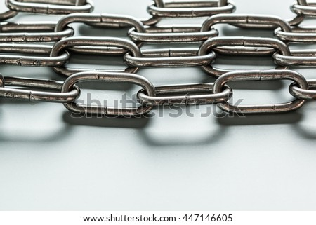 close up of metal chain part on white background