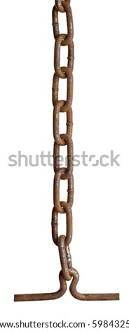 close up of metal chain part on white background with clipping path - stock photo