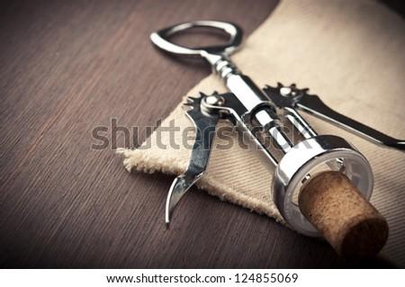 close up of metal corkscrew - stock photo