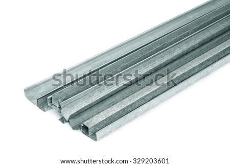 Close up of metal drywall profiles - stock photo