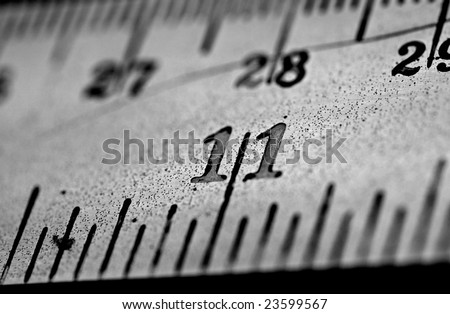 Close up of Metal ruler - stock photo