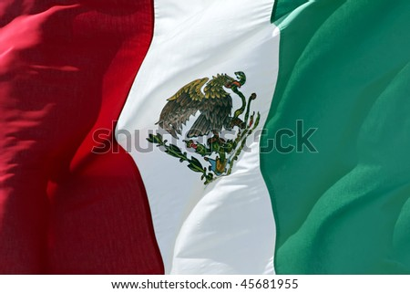 Close up of Mexican Flag. - stock photo
