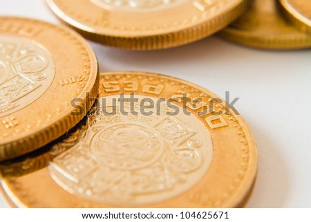 close up of mexican ten pesos coin - stock photo