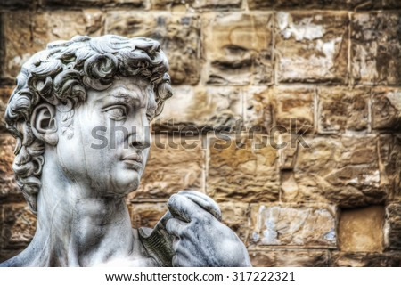 close up of Michelangelo's David head in Florence, Italy - stock photo