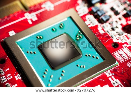Close up of microchip core - stock photo