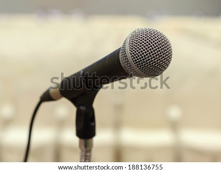 Close up of microphone in conference hall.