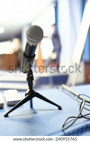 Close up of microphone in conference room
