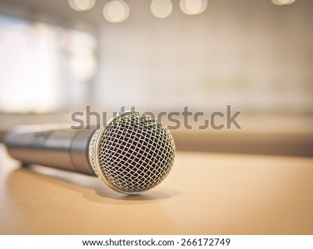 Close-up of Microphone in conference room, Warm filter process, Shallow in depth of field - stock photo