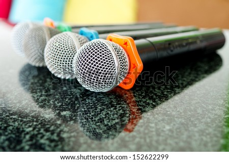 Close up of microphones for karaoke concept .