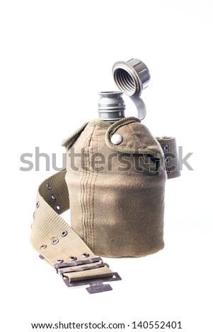 Close up of military flask against isolated white background