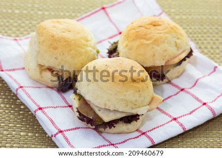 close up of mini burgers - stock photo
