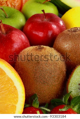 close up of mix of Colorful fresh Fruits
