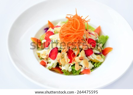 Close up of mixed fruits salad - stock photo
