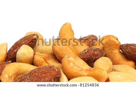 Close up of mixed nuts - stock photo