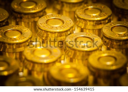 Close up of 9mm Luger (9x19 Parabellum) handgun ammo - stock photo