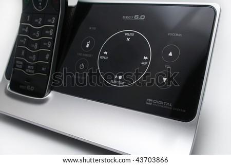 Close up of Modern Black and Silver Answering Machine - stock photo