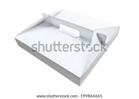 close up of modern box for pizza on white background - stock photo