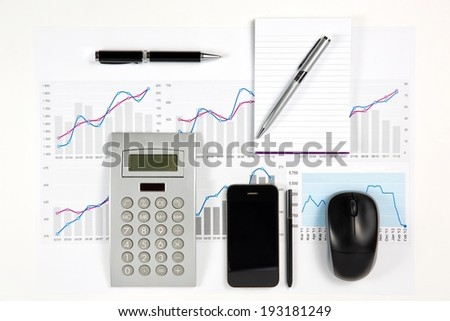 Close up of modern business elements. - stock photo