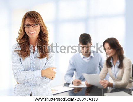 Close-up of modern business woman background with colleagues. Business team. - stock photo