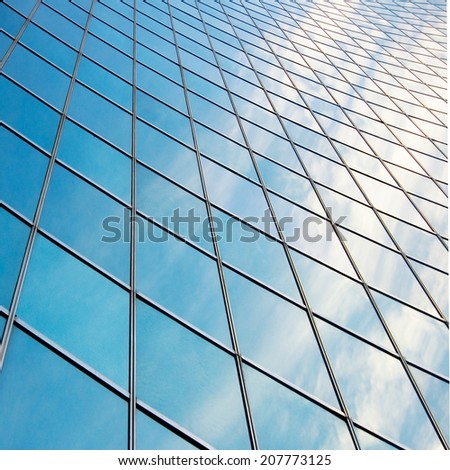close up of modern office building - stock photo