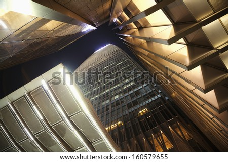 Close-up of modern office skyscraper - stock photo