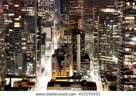 Close up of modern skyscrapers in downtown Toronto financial district at night