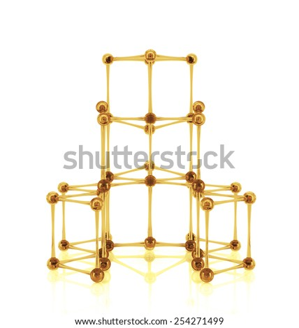 Close up of Molecular structure on the white reflective background - stock photo
