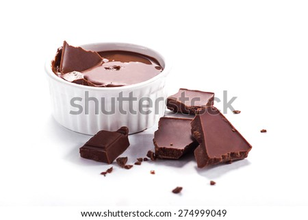 Close up of molten chocolate and pieces of chocolate bar. Isolated on white. - stock photo