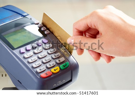 Close-up of moment of payment by credit card - stock photo