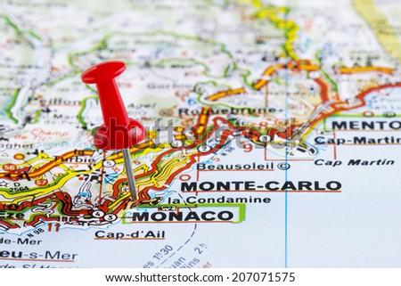 Close Monacomonte Carlo Map Red Pin Stock Photo 207071575