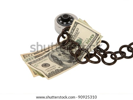 Close up of money chained to a lock isolated on white. Concept of safeguarding your money - stock photo