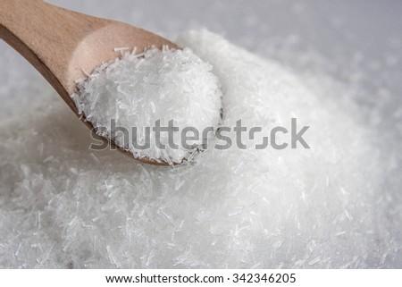 Close up of  mono sodium glutamate high sodium - stock photo