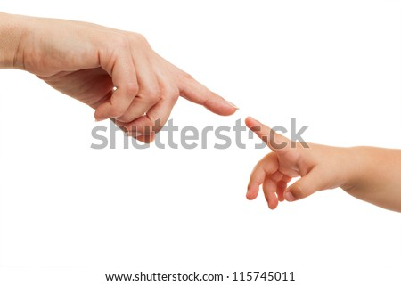 Close up of mother and babies hands pointing with finger .Isolated on white. - stock photo