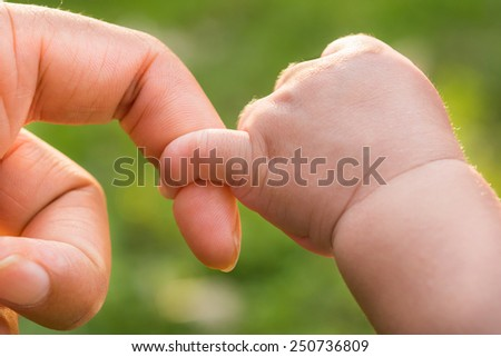 Close-up of mother and baby's hands. summer park in background - stock photo