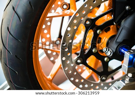 close up of motorbike brake background - stock photo