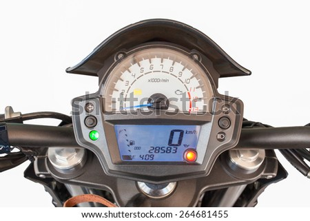 Close up of motorcycle dashboard - stock photo