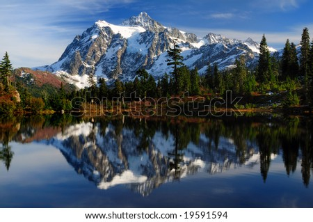 Close-up of Mount Shuksan reflected across Picture Lake - stock photo