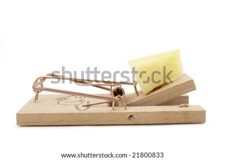 close up of mousetrap with cheese  on white background with clipping path - stock photo