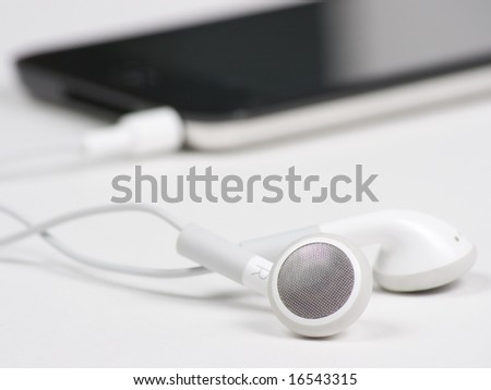 Close up of MP3 player on white background - stock photo