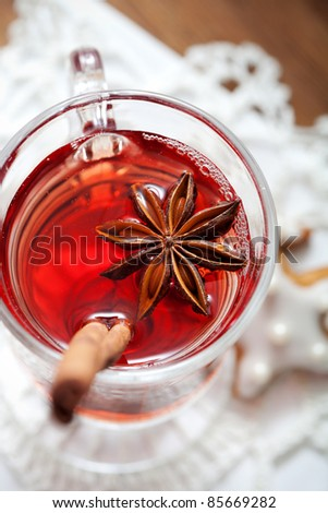 Close up of mulled wine glass with star anise - stock photo