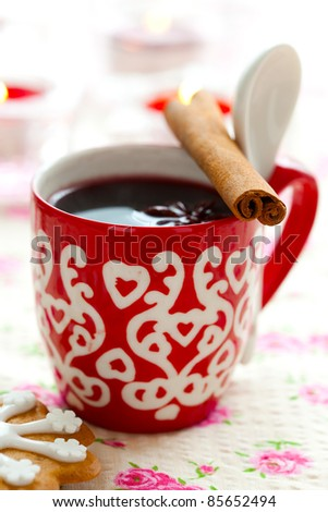 Close-up of mulled wine with spices for Christmas